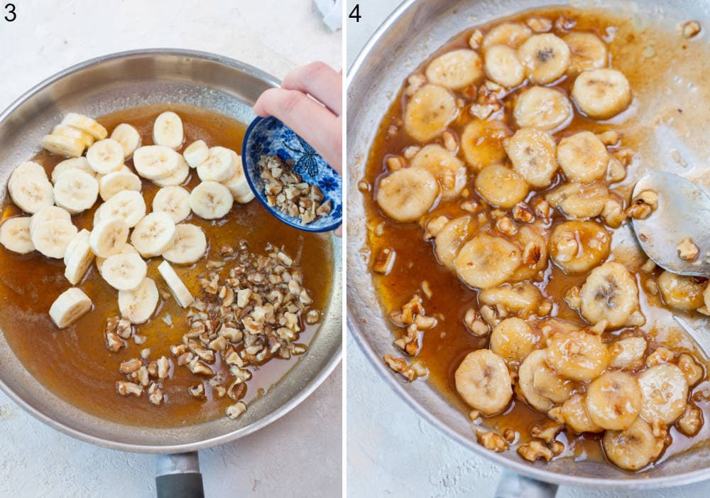 Bananas and nuts are being added to a rum sauce in a pan. Bananas foster in a frying pan.