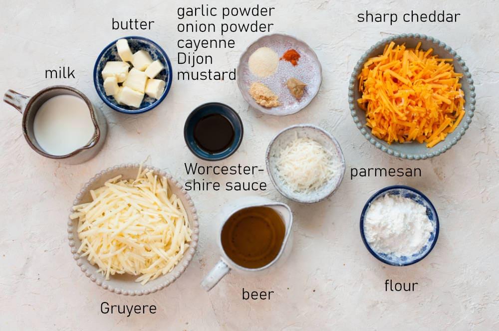 Labeled ingredients for beer cheese dip.