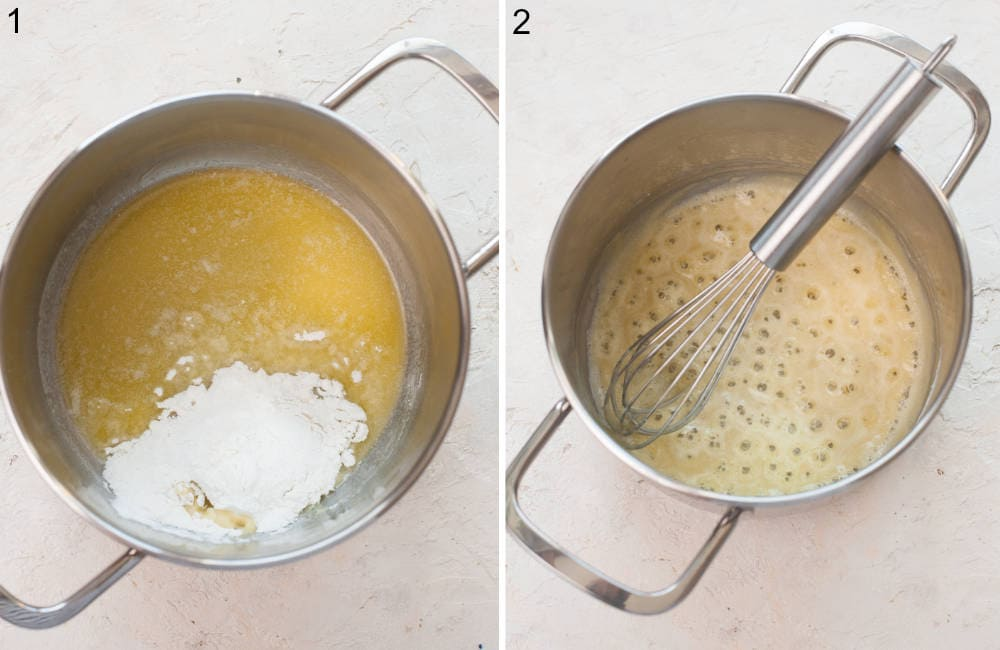 Butter and flour in a pot. Roux and a whisk in a pot.