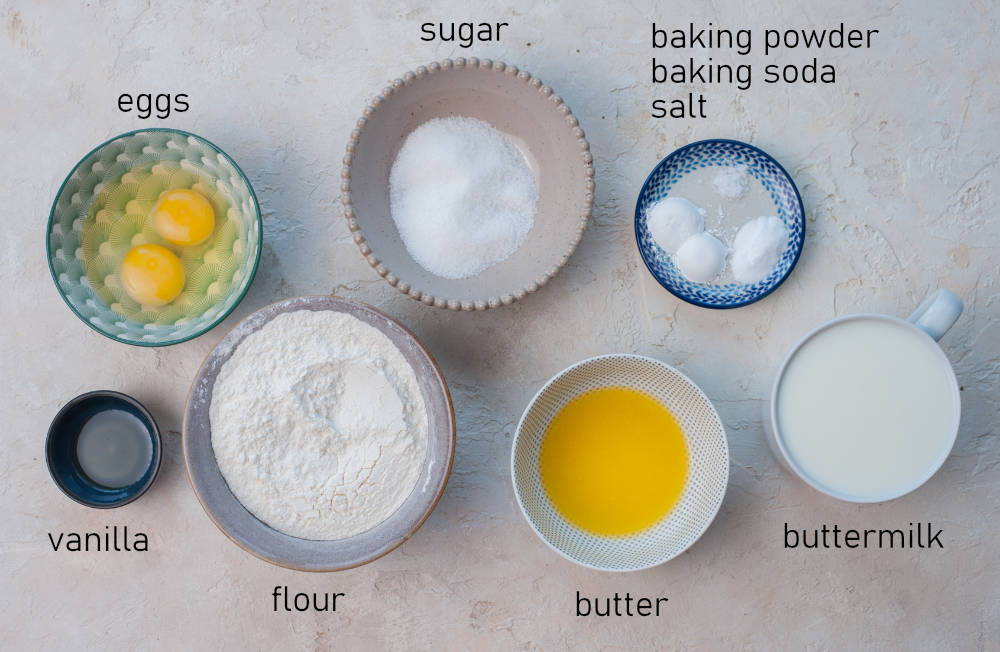 Labeled ingredients for buttermilk pancakes.