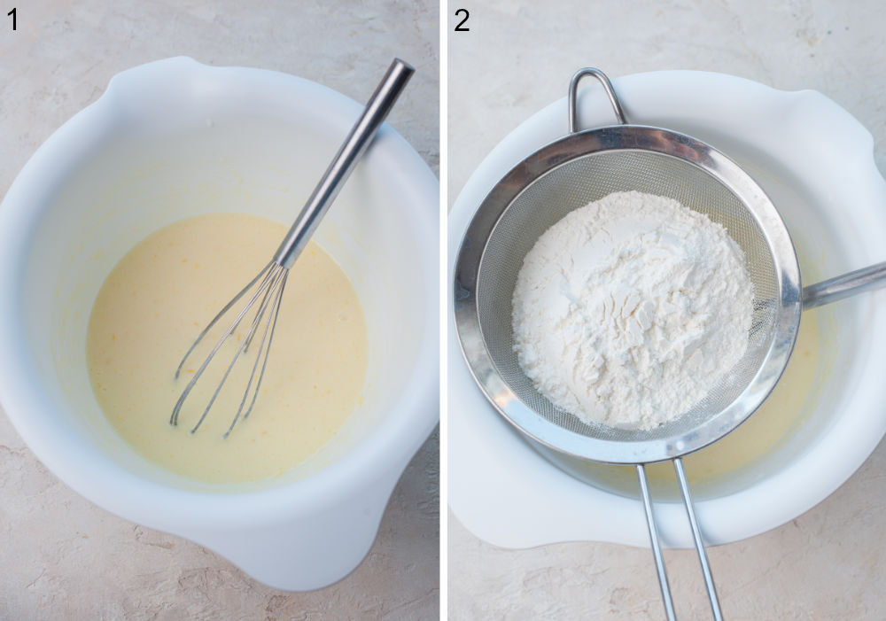 Wet ingredients for pancakes in a white bowl. Flour is being sifted into a bowl.