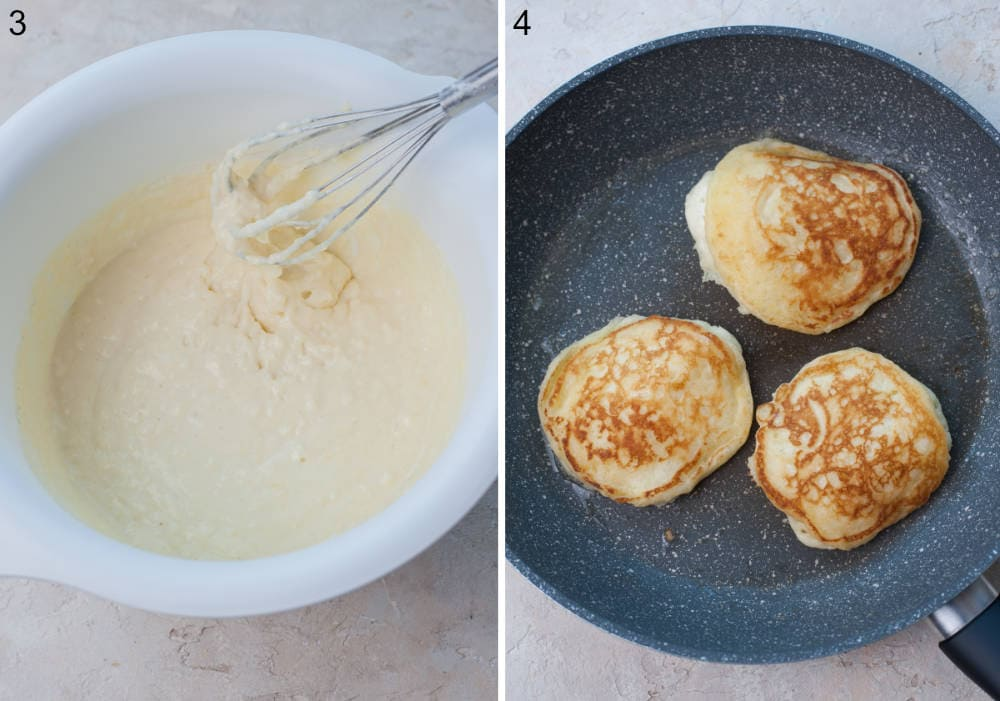 Pancake batter in a white bowl. Pancakes are being cooked in a pan.