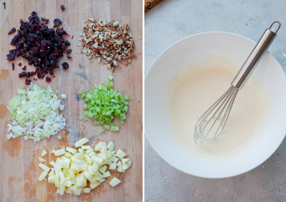 Chopped ingredients for chicken salad on a wooden board. Salad dressing in a white bowl.