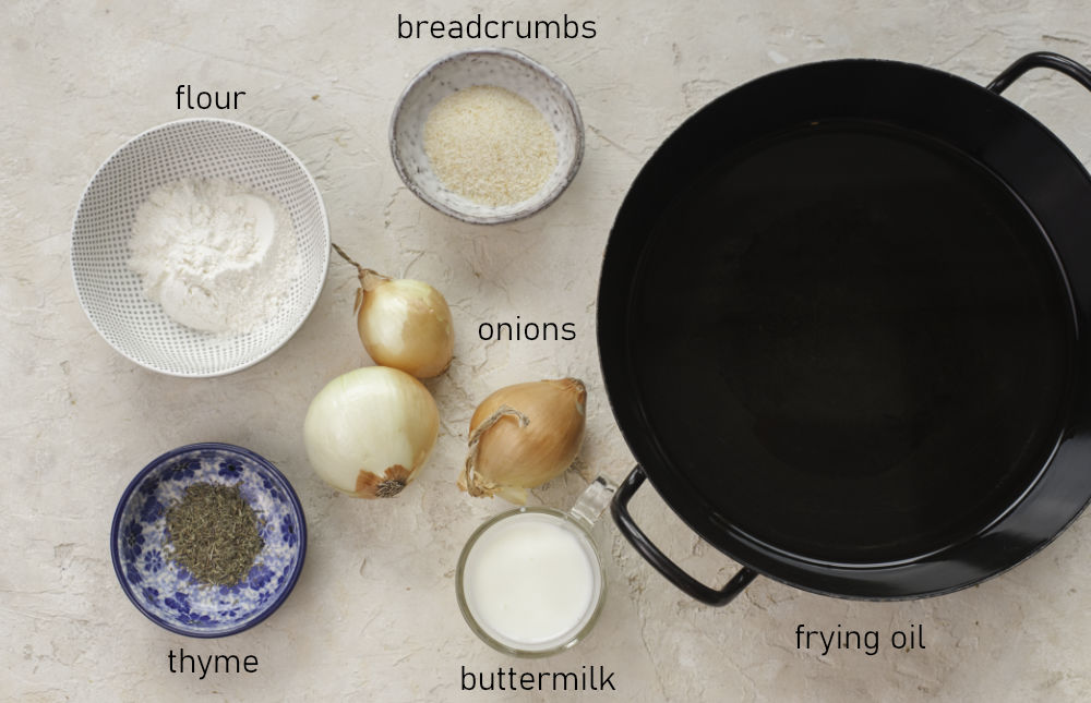 Labeled ingredients for homemade fried onions.