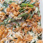 Green bean casserole in a white baking dish.
