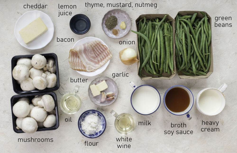 Labeled ingredients for green bean casserole.