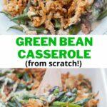 Green bean casserole pinnable image.