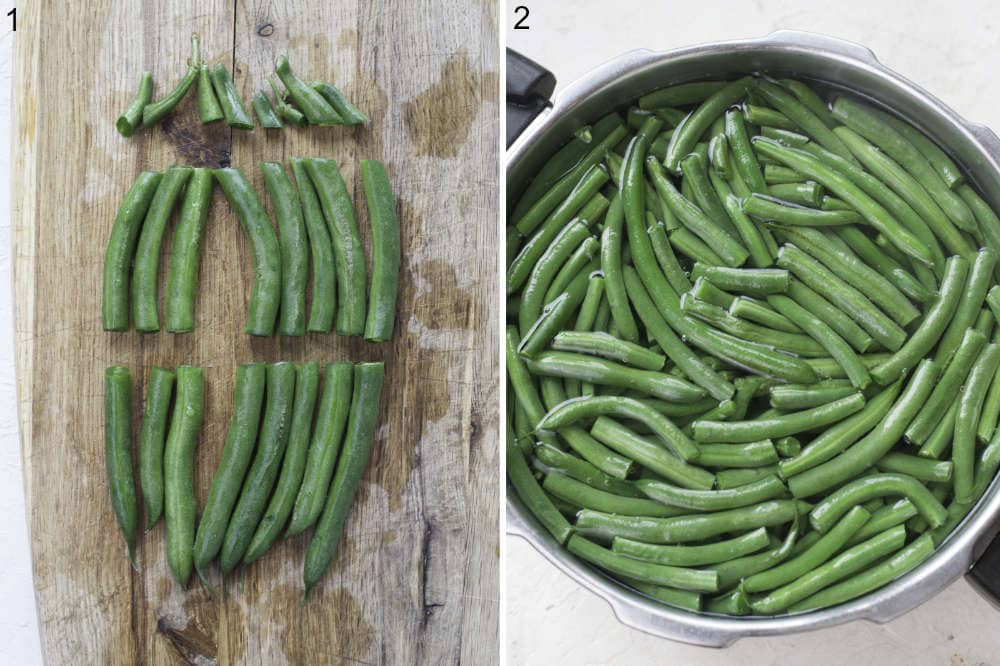 Trimmed green beans cut in half on a wooden board. Green beans are being cooked in a pot.