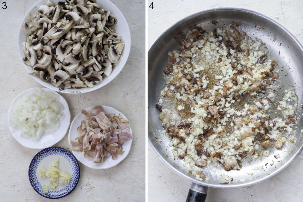 Chopped ingredients for a mushroom sauce. Sauteed onions with garlic and bacon in a pan.