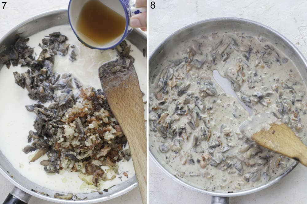 Broth is being added to a mushroom sauce in a pan. Mushroom sauce in a pan.