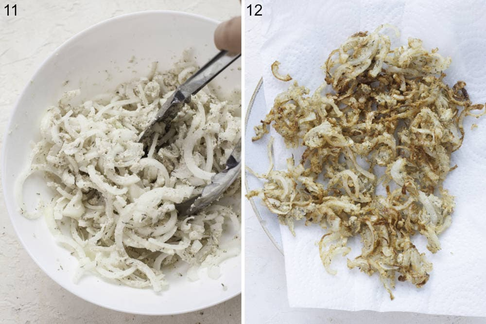 Onions tossed in a breadcrumb flour mixture in a white bowl. Fried onions on a plate lined with paper towel.