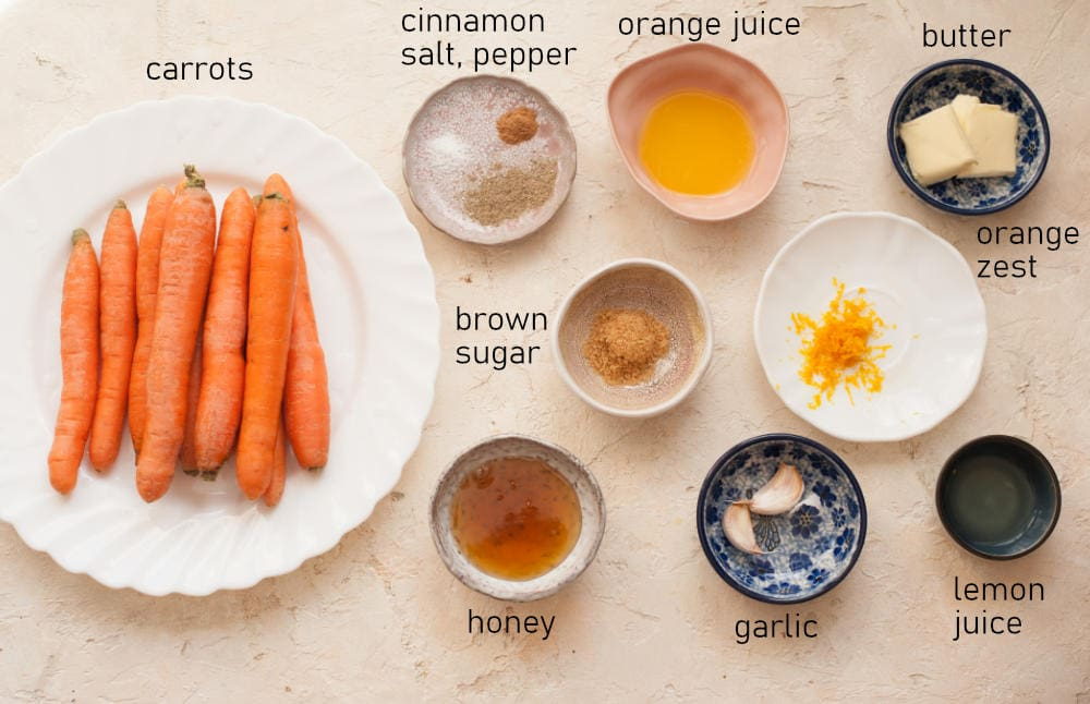 Labeled ingredients for honey glazed carrots.