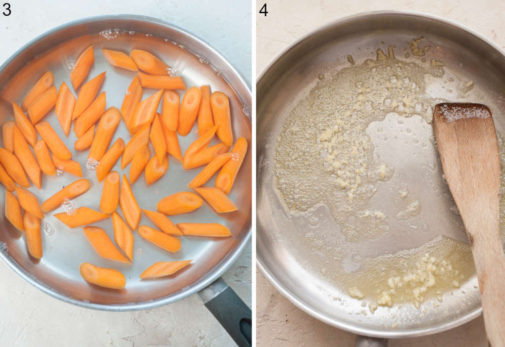 Carrots are being cooked in a pan. Garlic is being sauteed with butter in a pan.