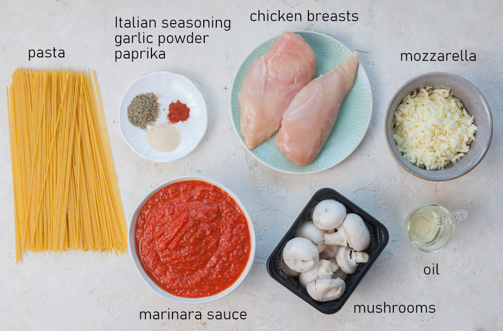 Labeled ingredients for mozzarella chicken with mushrooms.