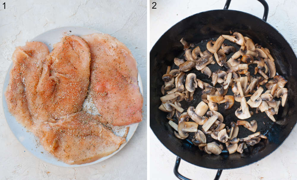 Chicken breasts with spices on a plate. Sauteed mushrooms in a black frying pan.