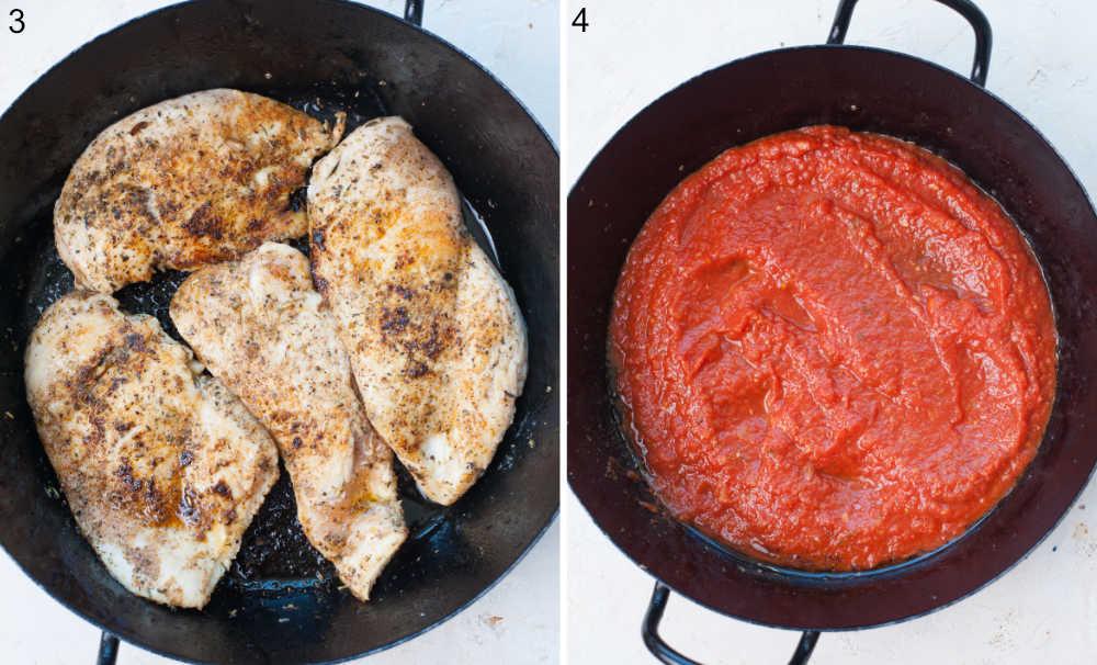 Pan-fried chicken breast in a black frying pan. Marinara sauce in a black frying pan.