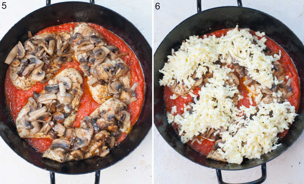Chicken breast topped with mushrooms with marinara sauce in a frying pan. Chicken with mushrooms, cheese, and tomato sauce in a pan.