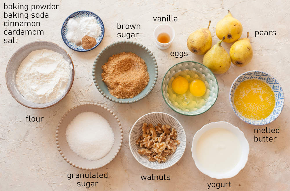 Labeled ingredients for pear muffins.