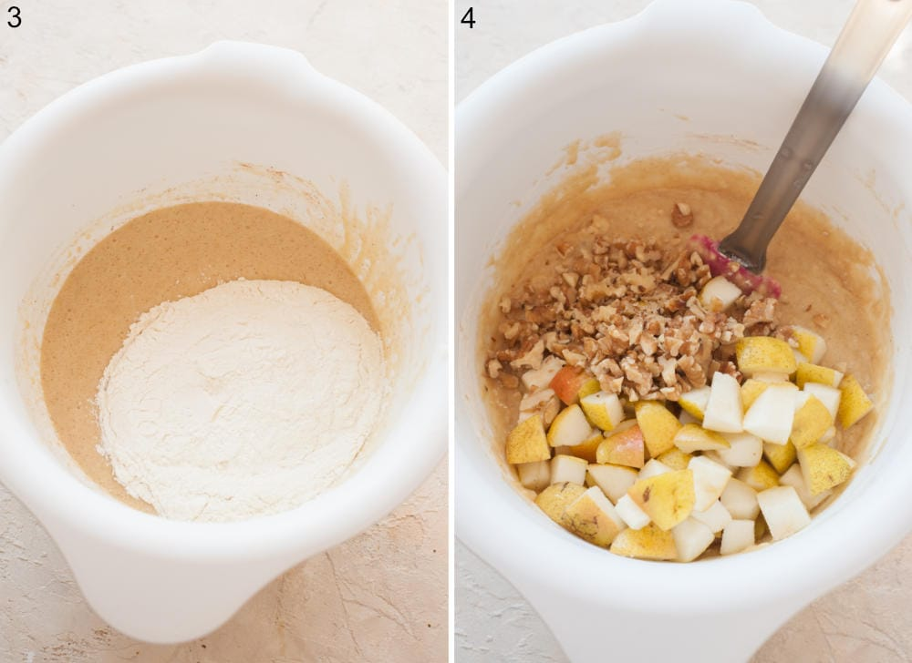 Flour added to a bowl with wet ingredients for muffins. Muffin batter, pears and walnuts in a bowl.