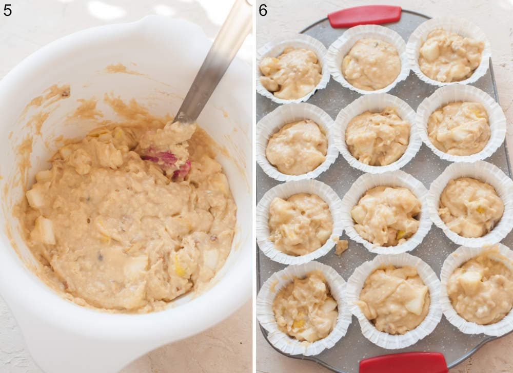 Pear muffin batter in a white bowl. Pear muffin batter in a muffin pan.