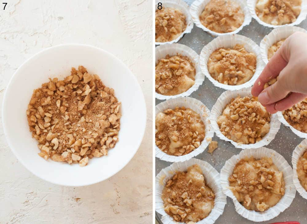 Brown sugar walnut cinnamon topping in a bowl. Muffin batter is being sprinkled with sugary topping.