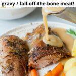Roasted turkey leg pinnable image.