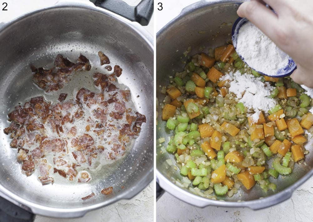 Cooked bacon in a pot. Flour is being added to sauteed vegetables in a pot.