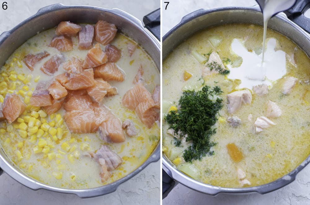 Soup with salmon and corn in a bot. Milk is being added to a soup in a pot.