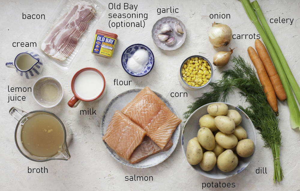 Labeled ingredients for salmon chowder.