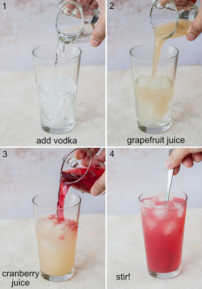 A collage of 4 photos showing how to make sea breeze cocktail step by step.