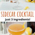 Sidecar cocktail pinnable image.