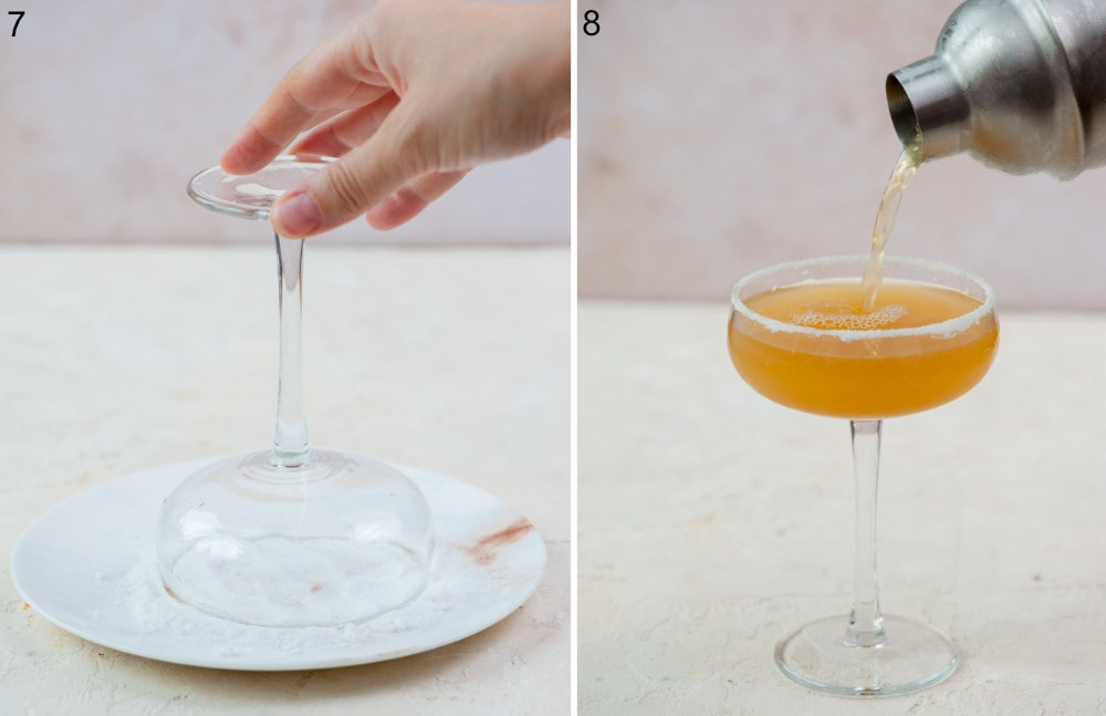 A coupe glass is being dipped into superfine sugar. A sidecar cocktail is being strained into a cocktail glass.