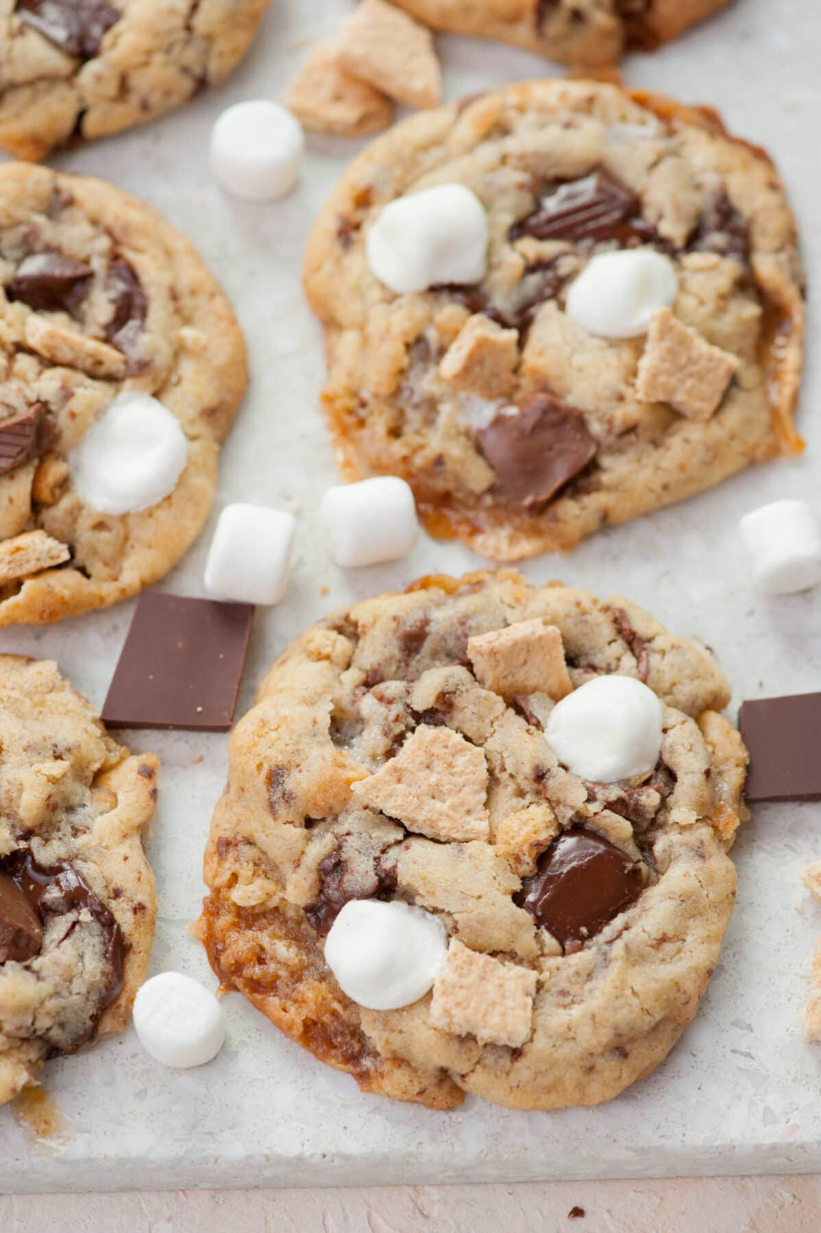 S'mores cookies on a grey background.