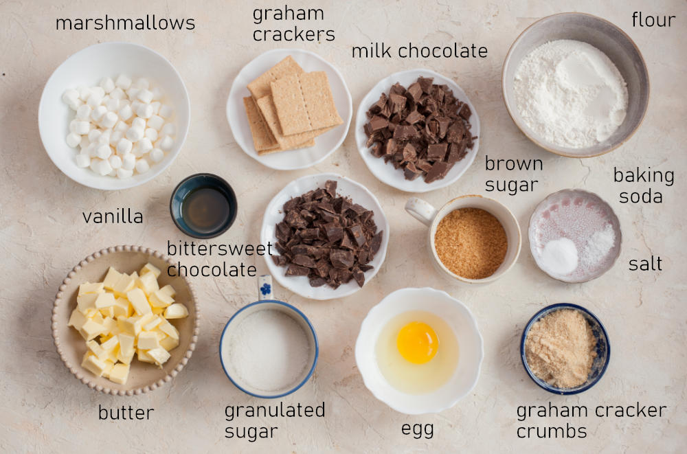Labeled ingredients needed to prepare s'mores cookies.