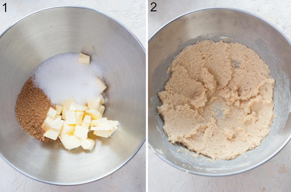 Butter and sugar in a bowl. Creamed butter with sugar in a bowl.