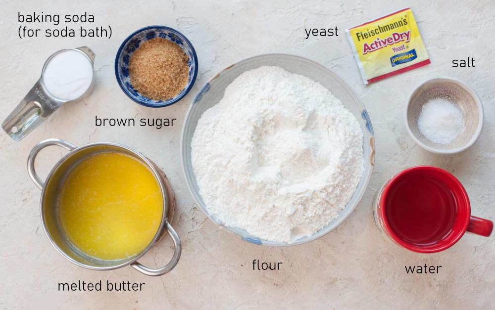 Labeled ingredients for soft pretzel bites.