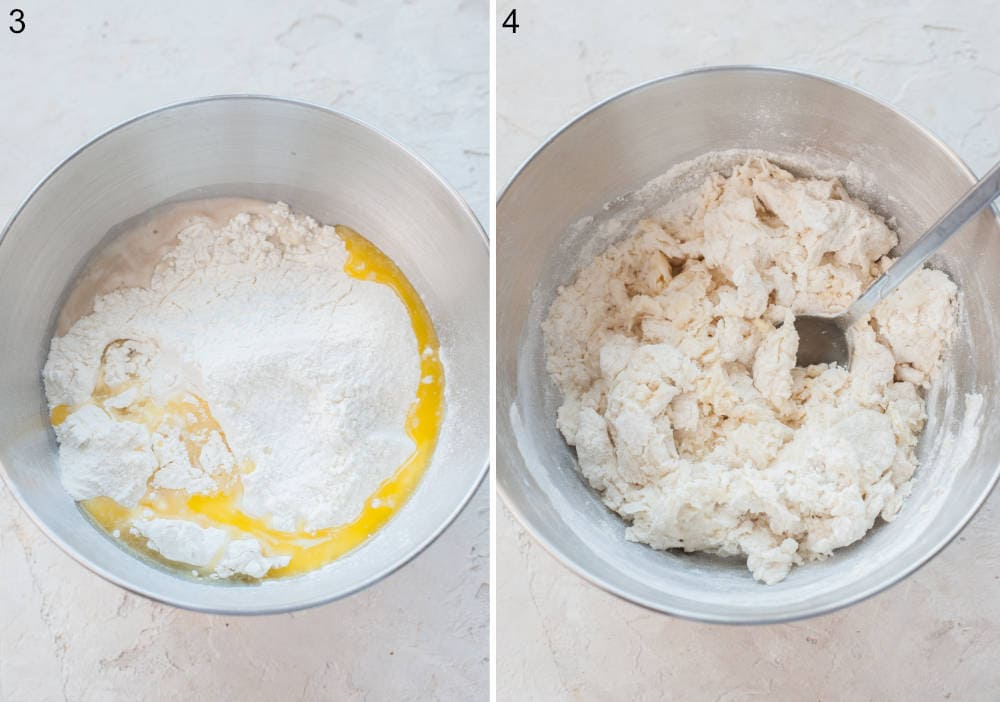 Yeast dough ingredients in a bowl. Roughly combined dough ingredients in a bowl.