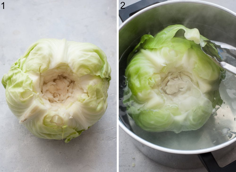 Cabbage head with cut off core. A head of cabbage is being cooked in a pot.