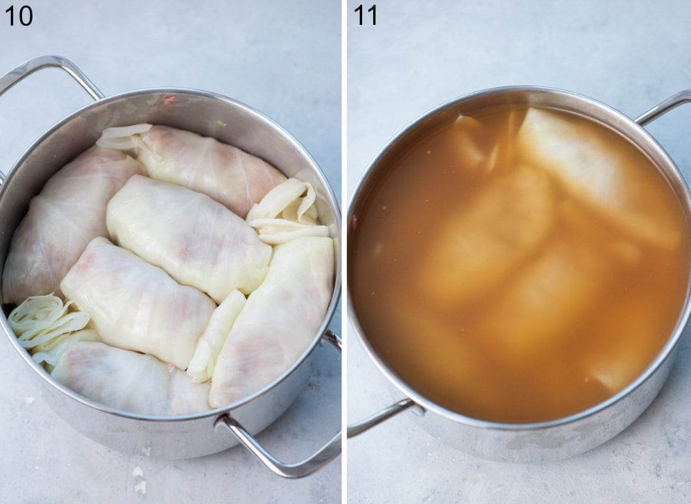 Stuffed cabbage rolls in a pot.