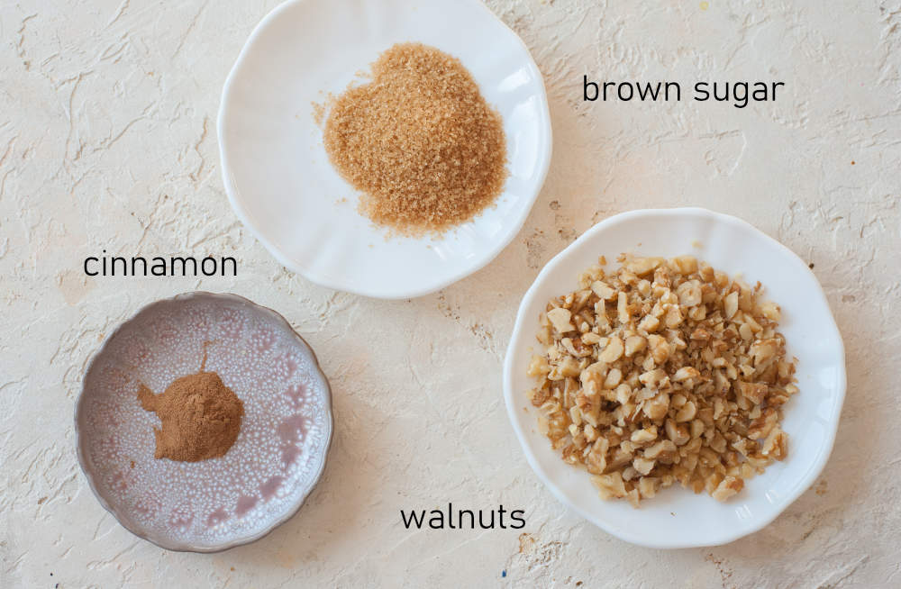 Labeled ingredients for brown sugar walnut cinnamon topping.