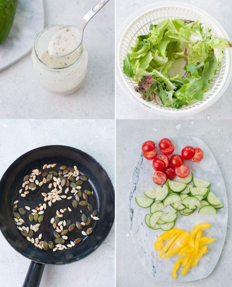 A collage of 4 photos showing preparation steps of salad with yogurt dressing.