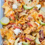 Chicken fajita nachos pinnable image.