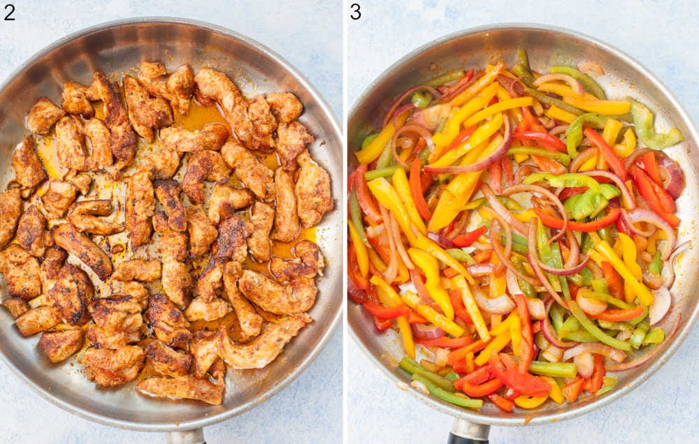 Pan-fried chicken in a frying pan. Bell peppers and onion in a frying pan.