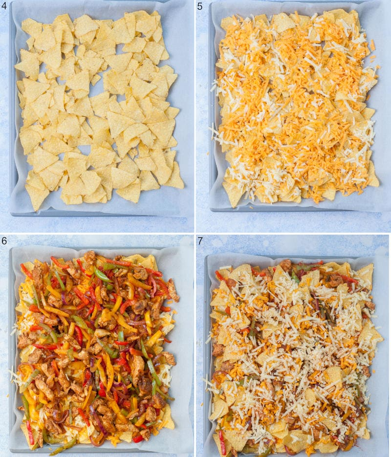 A collage of 4 photos showing assembling steps of chicken fajita nachos.
