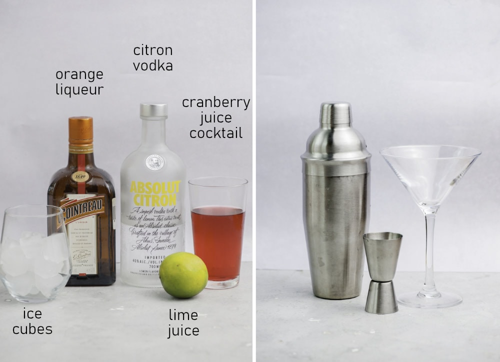 Labeled ingredients and tools needed to prepare Cosmopolitan cocktail.