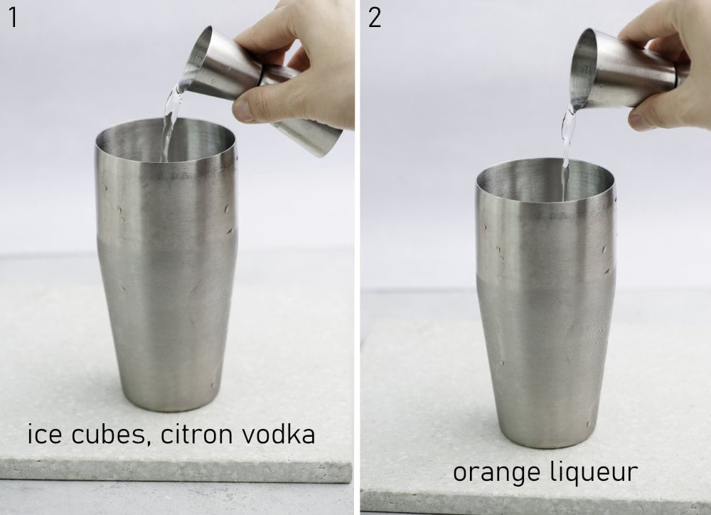 Citron vodka and orange liqueur are being added to a cocktail shaker.