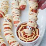 Mummy hot dogs pinnable image.