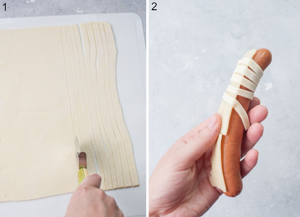 A rolled out dough is being cut into strips. A pastry dough is being wrapped around a hot dog.