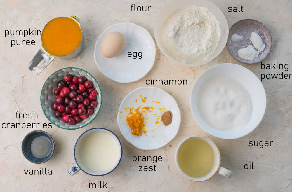 Labeled ingredients for pumpkin cranberry muffins.